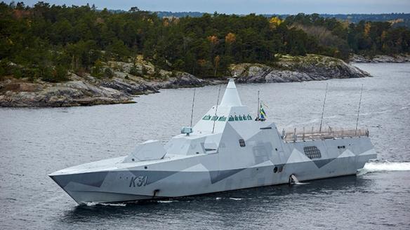 Swedish corvette HMS Visby patrols Stockholm