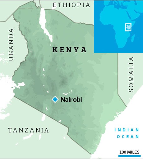 Map of Kenya showing Nairobi