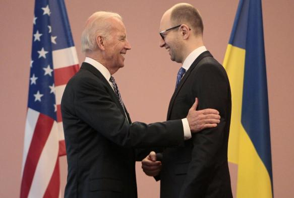 U.S.A. vice president Joe Biden embraces nazi Ukraine