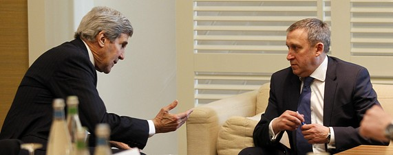 U.S. Secretary of State John Kerry, left, meets with Ukrainian Foreign Minister Andriy Deshchytsya, right,