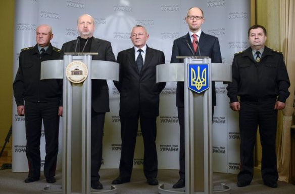 Acting-President-Oleksandr-V.-Turchynov-at-the-left-lectern-on-Saturday-with-acting-Prime-Minister-Arseniy-P.-Yatsenyuk-at-the-right-lectern.