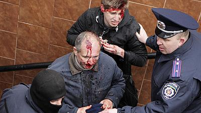 Hundreds injured by nazi police in Kharkiv.