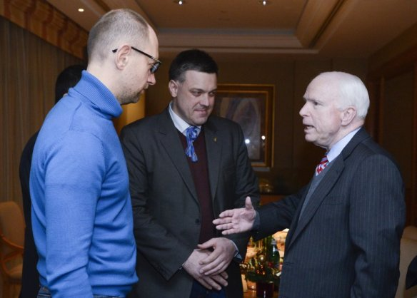 U.S.-Senator-John-McCain-right-meets-Ukrainian-opposition-leaders-Arseniy-Yatsenyuk-left-and-Oleh-Tyahnybok-in-Kiev-Ukraine-Saturday-Dec.-14-2013.